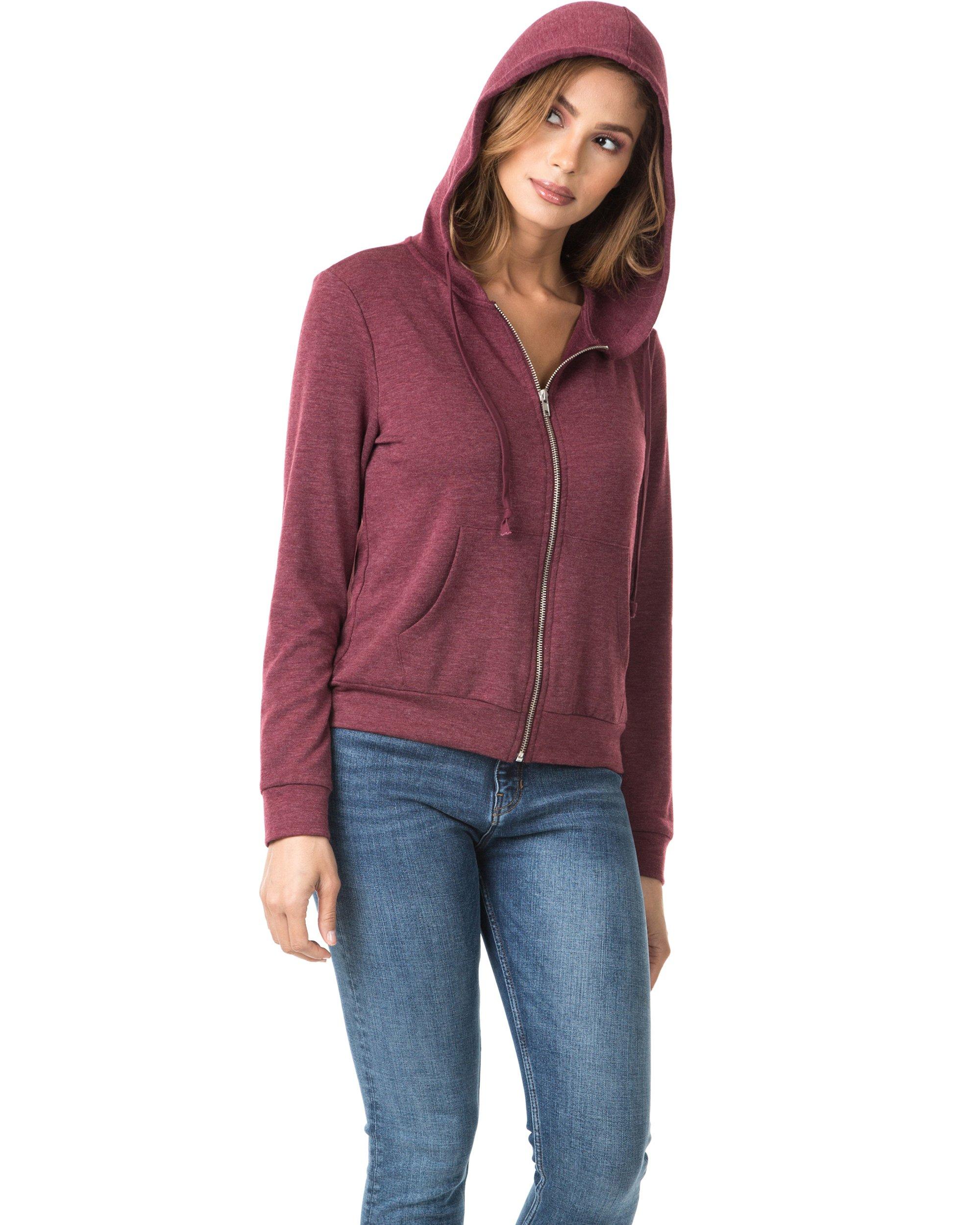 Nolabel B7_032 Women's Long Sleeve French Terry Drawstring Hoodies Zip Up Sweatshirt Hooded (Burgundy/5XL) by Nolabel (Image #4)