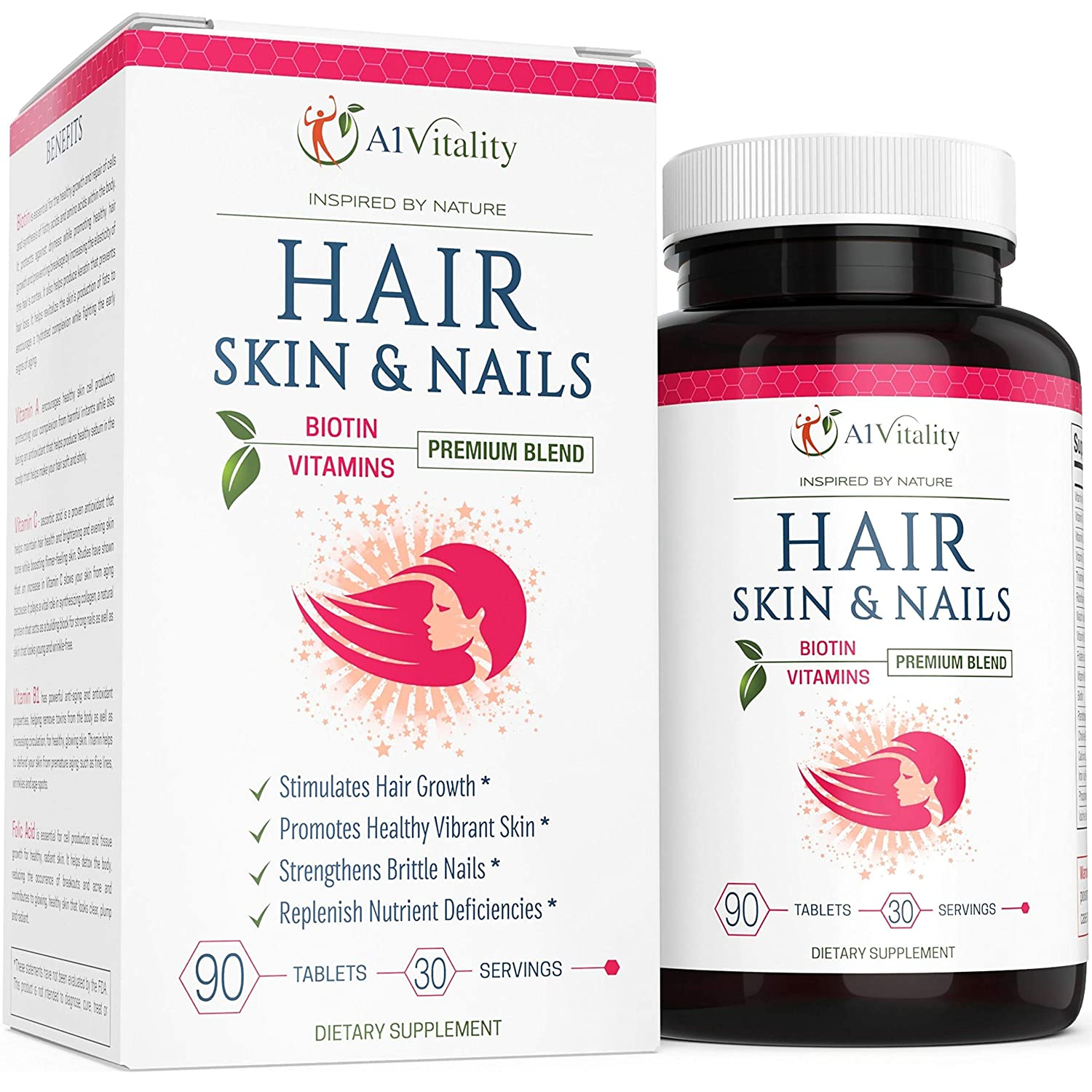 Hair, Skin, Nails Vitamins With Biotin - Hair Growth Formula For Healthy Hair, Powerful Minerals, Nutrients, Amino Acids, Vibrant Glowing Skin Care, Stronger Longer Nails, Premium Blend Extra Strength