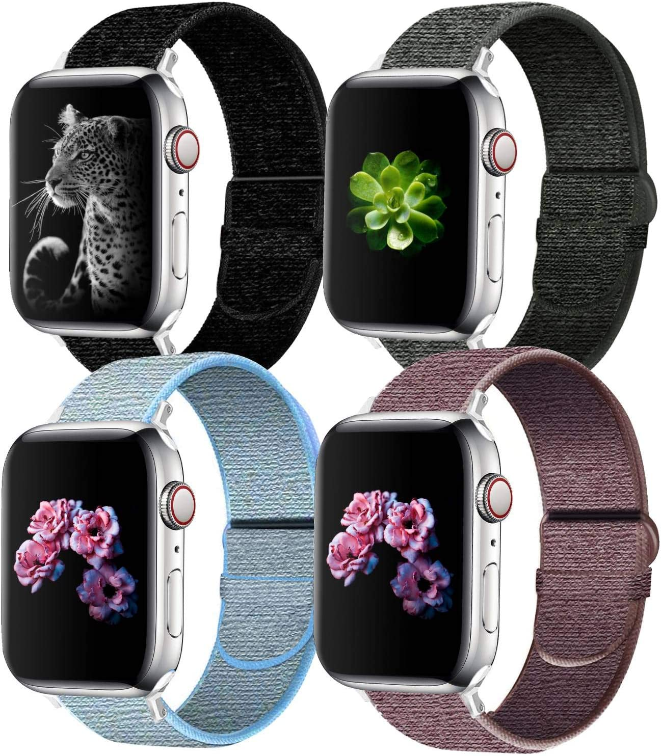 NOY Sport Watch Band Compatible with Apple Watch Band 44mm/42mm/40mm/38mm, Stylish and Comfy Adjustable Nylon Loop Replacement Strap for iWatch Series 5/4/3/2/1