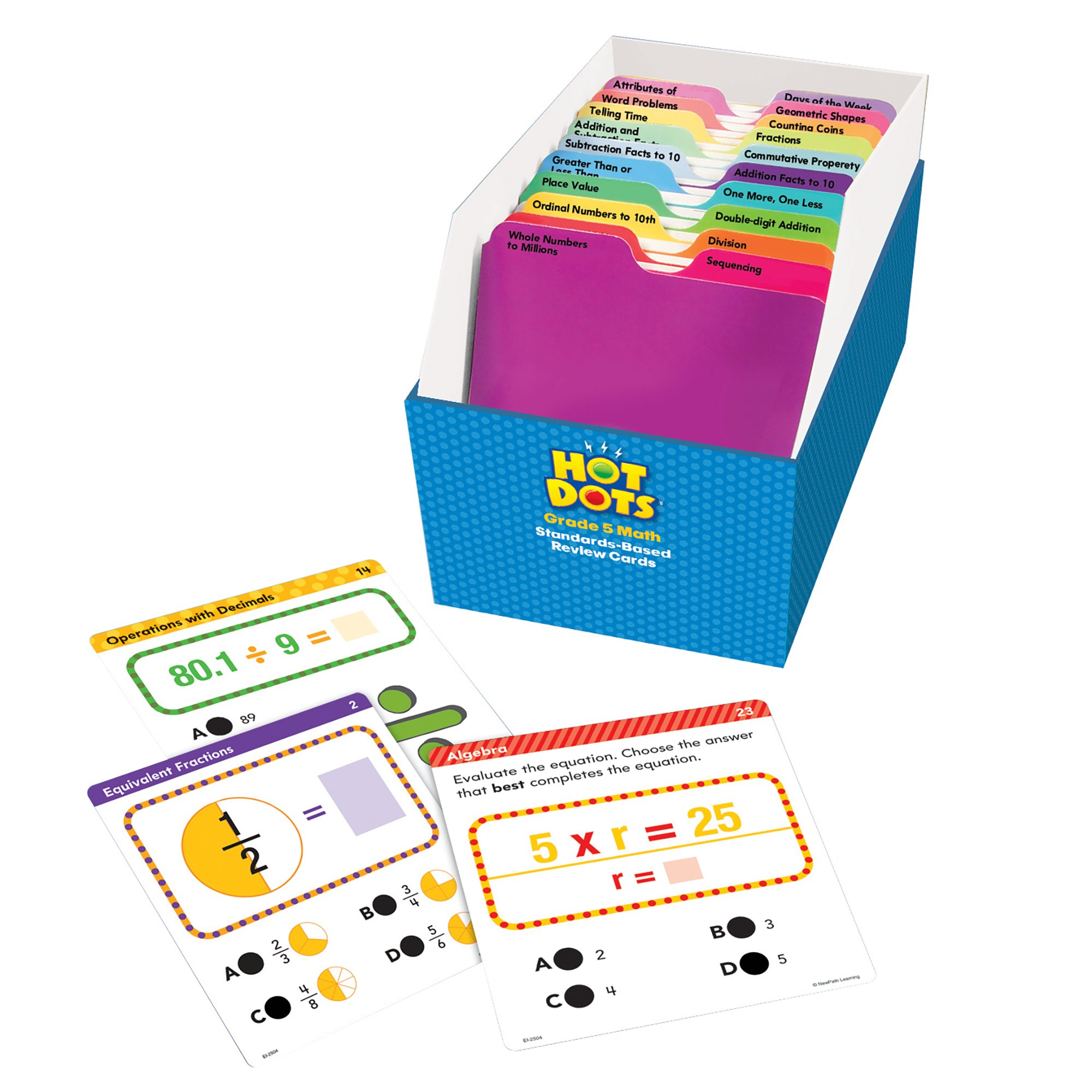 Educational Insights Hot Dots Math Standards-Based Review CardsGrade 5