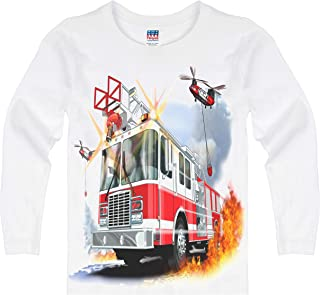 product image for Shirts That Go Little Boys' Long Sleeve Fire Truck & Helicopters T-Shirt