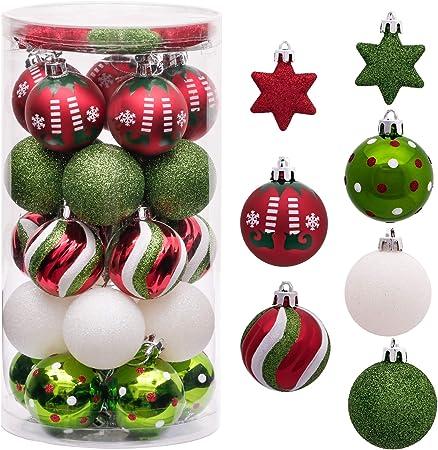 Victors Workshop 35Pcs Bolas de Navidad 5cm, Adornos de Navidad para Arbol Tema Elfo Setl, Decoración de Bolas Navideños Plástico de Rojo Blanco Verde, Regalos de Colgantes de Navidad (Deleitoso): Amazon.es: Hogar