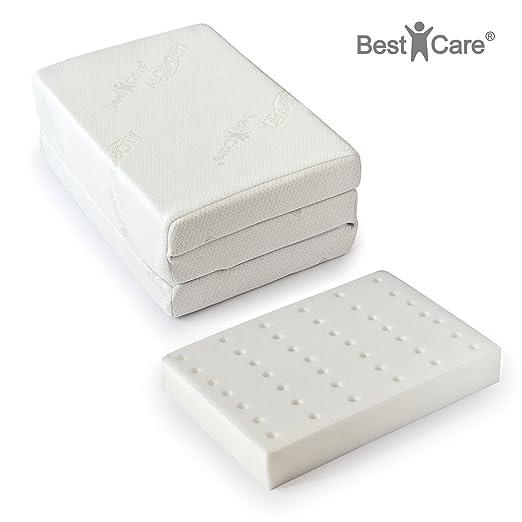 BestCare ® - Hecho en la UE, Premium Colchón cama para viaje, altura total 8cm, funda con aloe vera, no requiere sábana, con canales de ventilación, ...