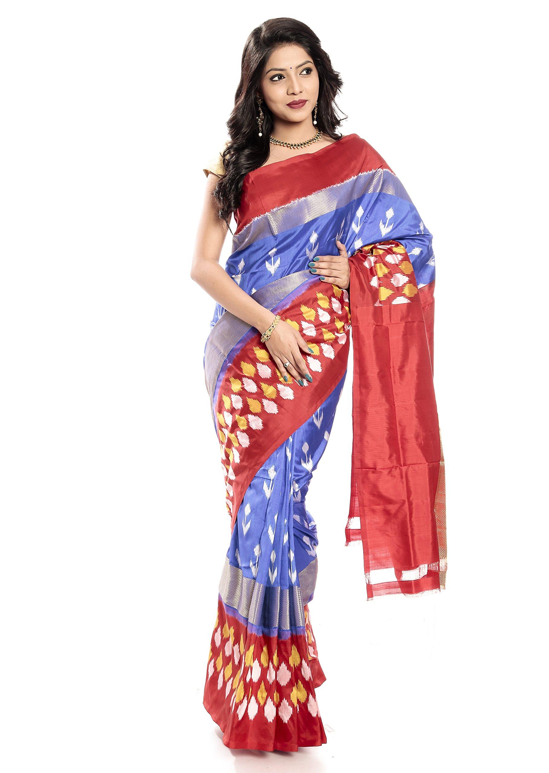 Mandakini — Indian Women's Pochampally - Handloom - Ikat Pure Silk Saree (Blue-Reddish Orange ) (MK355)