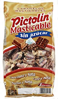 Pictolín Masticable Tofee, Chocolate y Café sin azúcar - Caramelos masticables sin azucares con edulcorantes