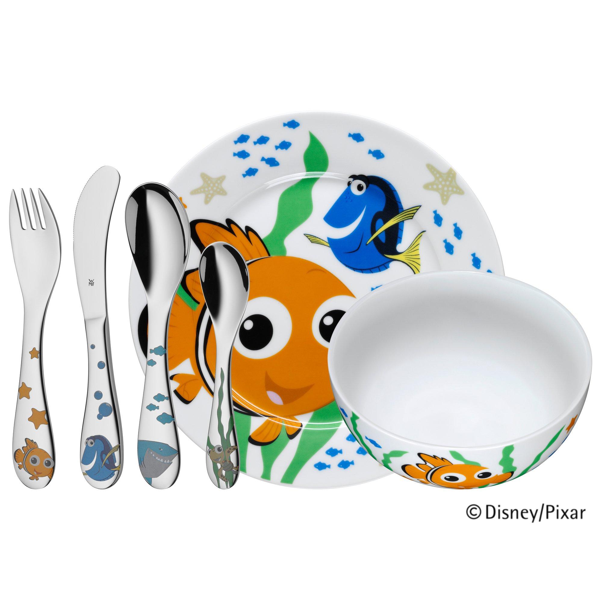 WMF Disney Buscando a Nemo - Vajilla para niños 6 piezas, incluye plato, cuenco y cubertería (tenedor, cuchillo de mesa, cuchara y cuchara pequeña) (WMF ...