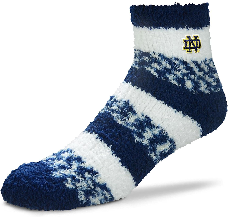 Size-Medium For Bare Feet NCAA RMC Pro Stripe Fuzzy Sleep Soft Sock