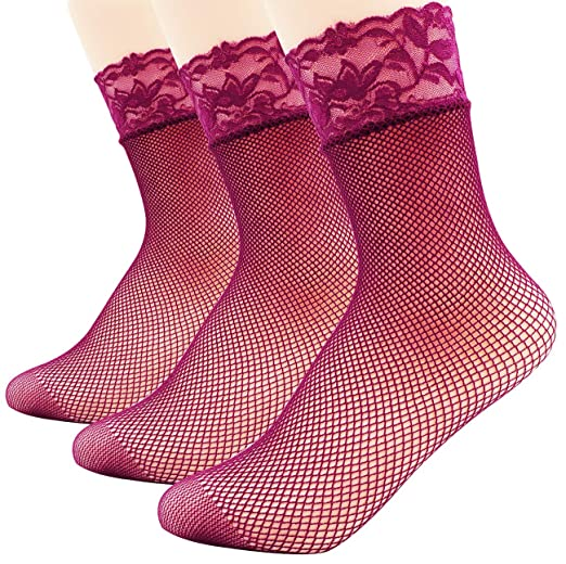 be6757f7990bf Amazon.com: Lady 3 Pack Fishnet Lace Top Ankle Socks, purple: Clothing