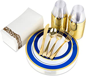 Blue and Gold Rim Plastic Dinnerware (200-Piece) Plastic Plates, Plastic Cutlery, Plastic Cups and Guest Towels - Service for 25 Guests Place Setting for Wedding, Party, Baby Shower, Birthday, Holiday
