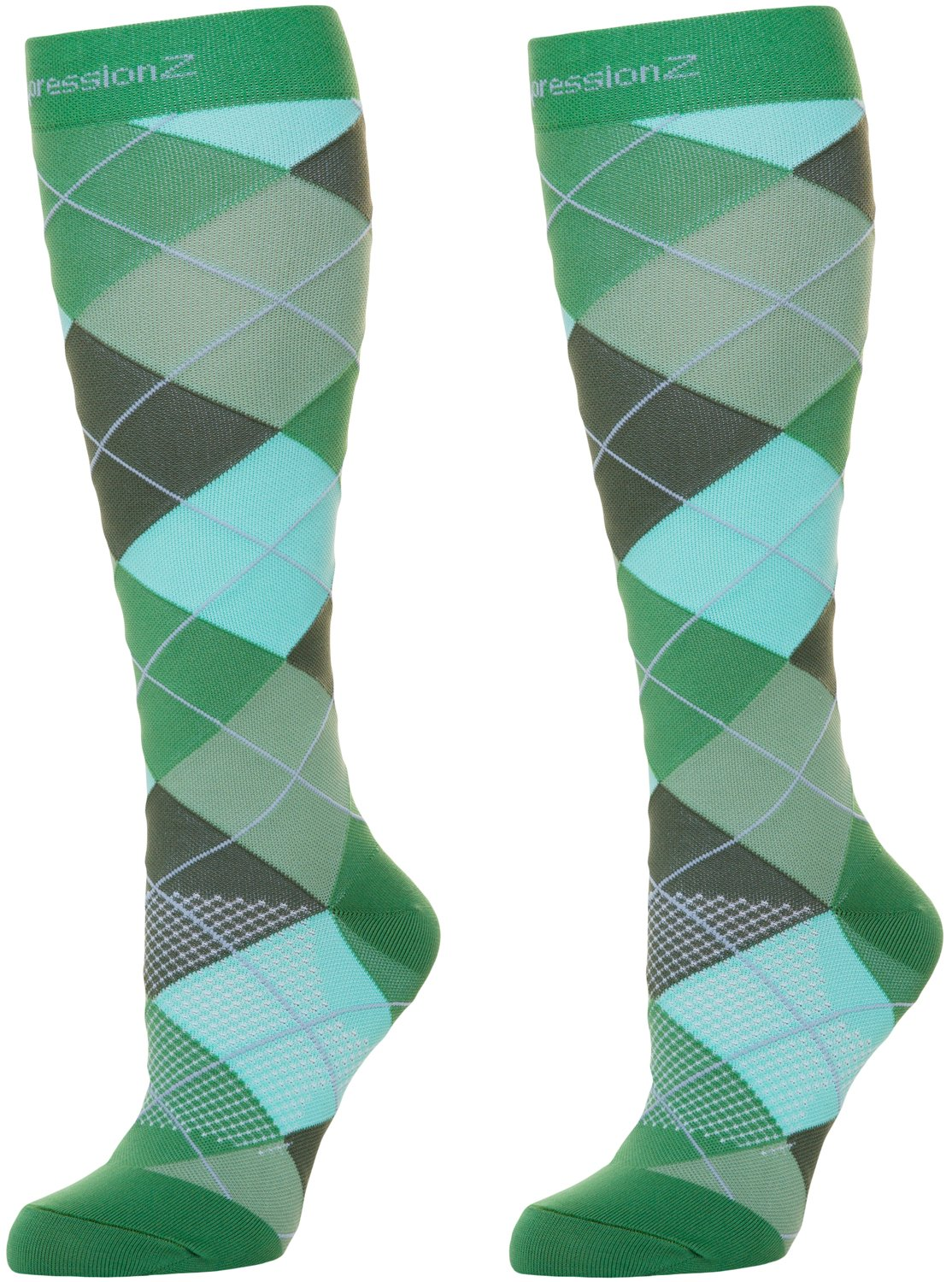 Argyle Green Large Compression Socks for Men & Women  3040 mmHg Graduated Compression  Medical Grade for Varicose Veins, Edema, Severe Swelling in Feet & Legs