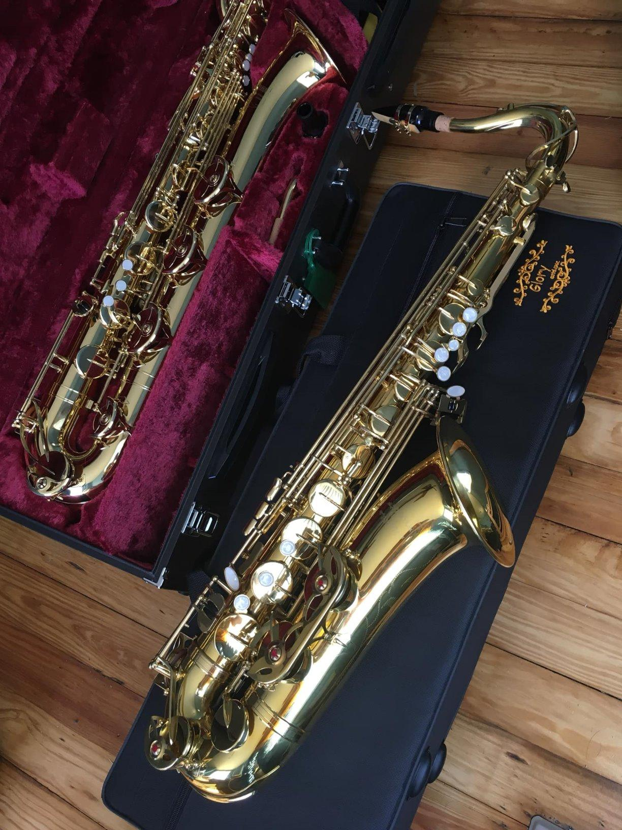 Glory Nickel /Gold B Flat Tenor Saxophone with Case,10pc