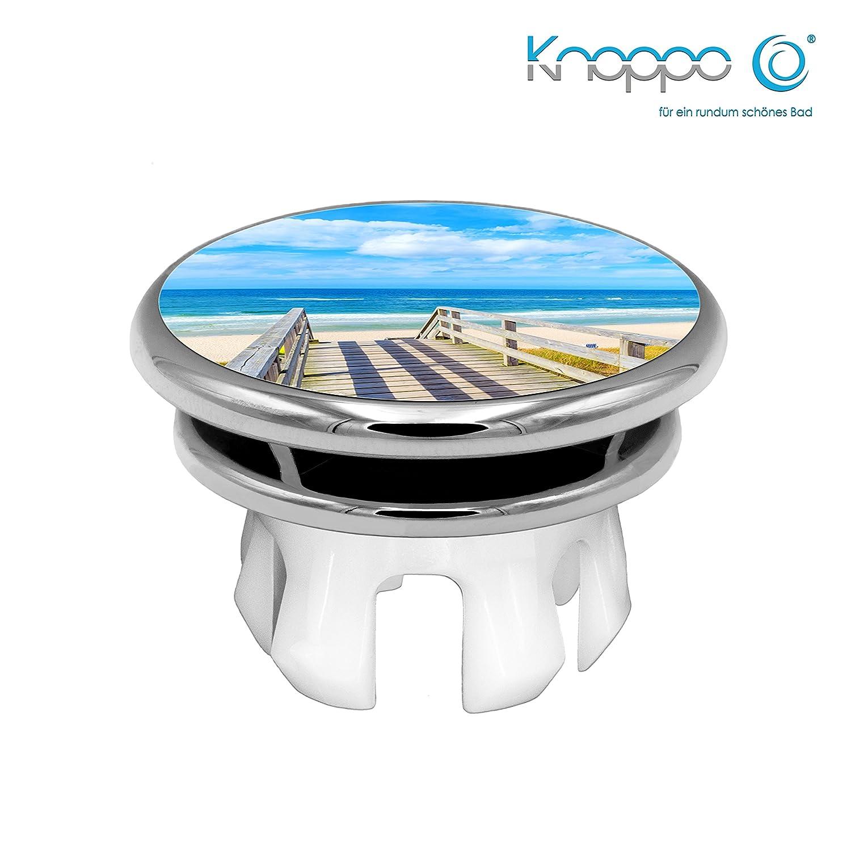 KNOPPO® Waschbecken Überlauf Abdeckung, Überlaufblende, Überlaufrosette - Mirror Meerblick Motiv (chrom)