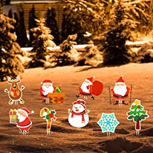 Flagicon Christmas Outdoor Decorations, Large Size Snowman and Santa Decor Xmas Yard Sign with Stake for Patio Lawn Garden Pathway Walkway Themed Party Holiday Home Decorations, 9pcs