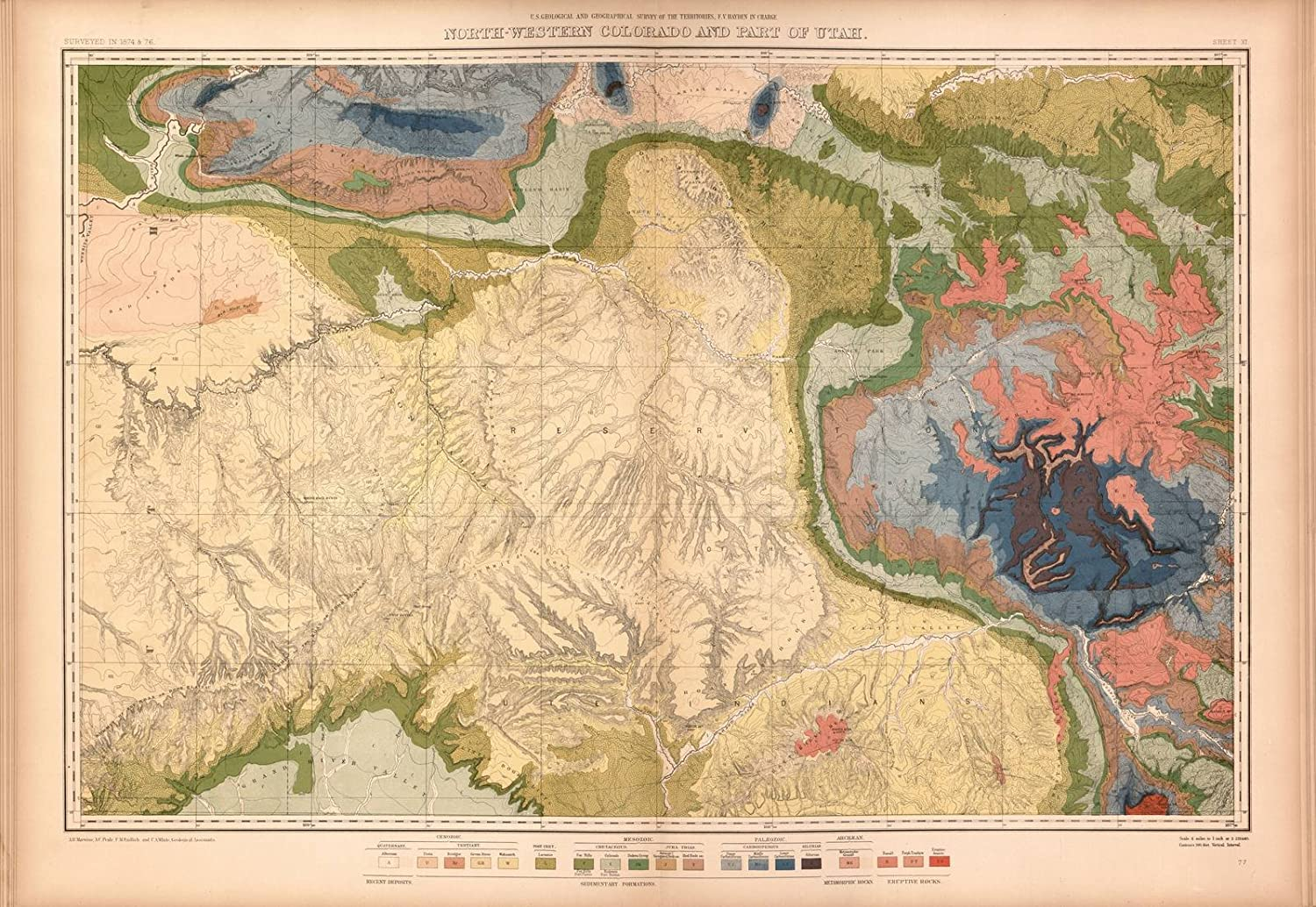 Amazon.com: Historic 1877 Map | Geological and Geographical Atlas of ...