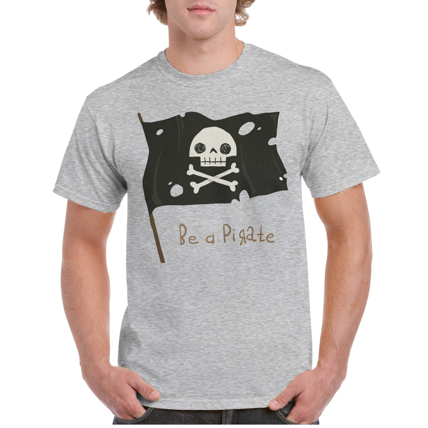 Amazon Be A Pirate Holiday Giant Pirate Flag Grey Custom T