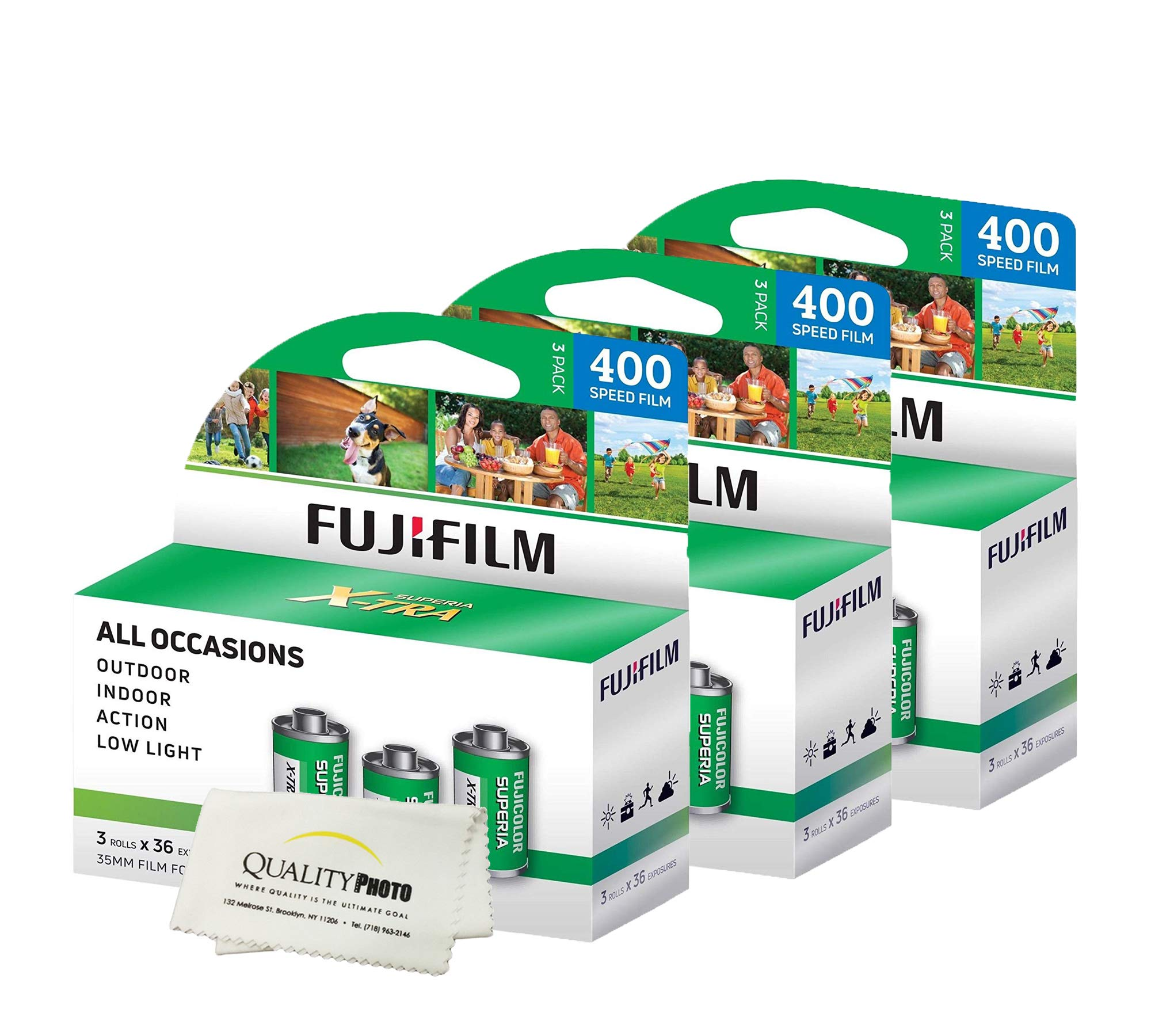 Fuji Superia X-TRA 3 Pack ISO 400 36 Exp. 35mm Film, Total 108 Exposures (3 Pack) + Quality Photo Ultra Soft Microfiber Cloth ... by Fujifilm