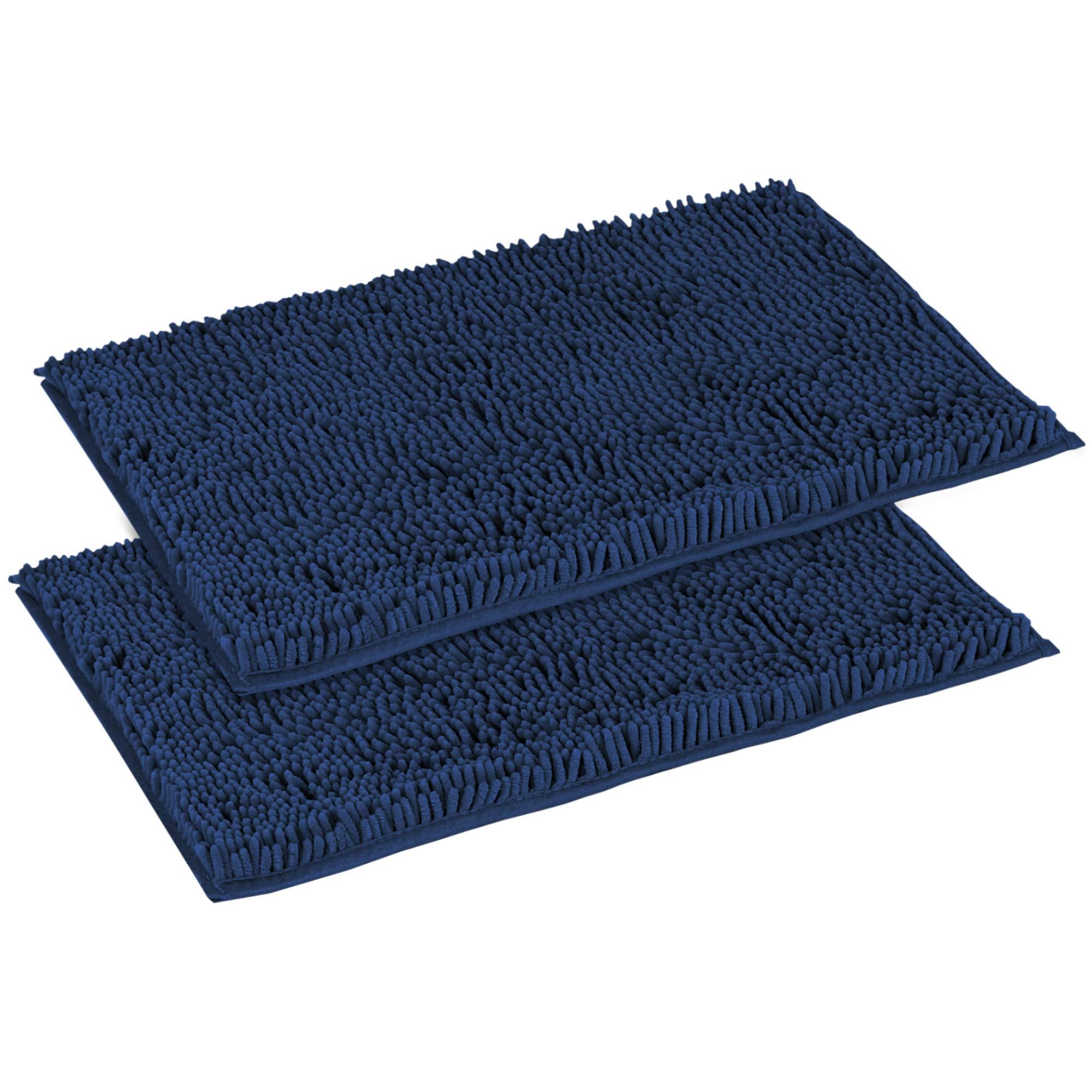 Flamingo P Super Soft Microfiber Bathroom Rugs Non Slip Shag Bath Mat for Kitchen Bedroom, 17''x 24'', Navy, Two Pack