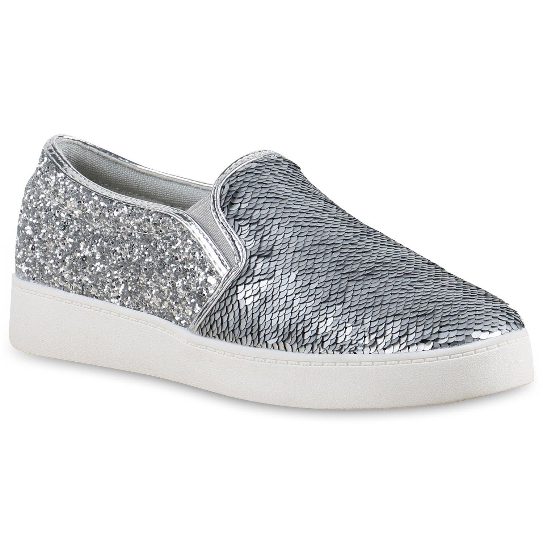 Stiefelparadies Unisex Damen Herren Sneaker Slip Ons übergrößen Flandell Silber Glitzer Pailletten