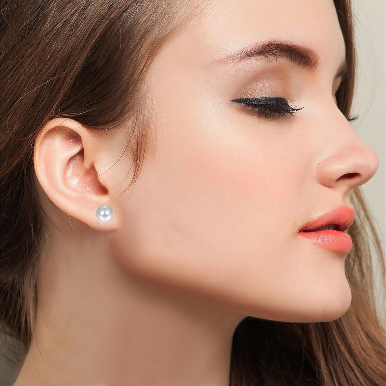 JewelryWe Bijoux 3-8mm Boucles d/'Oreilles Perle Boule Fantaisie Clous d/'Oreilles Acier Inoxydable Couleur Blanc Avec Sac Cadeau