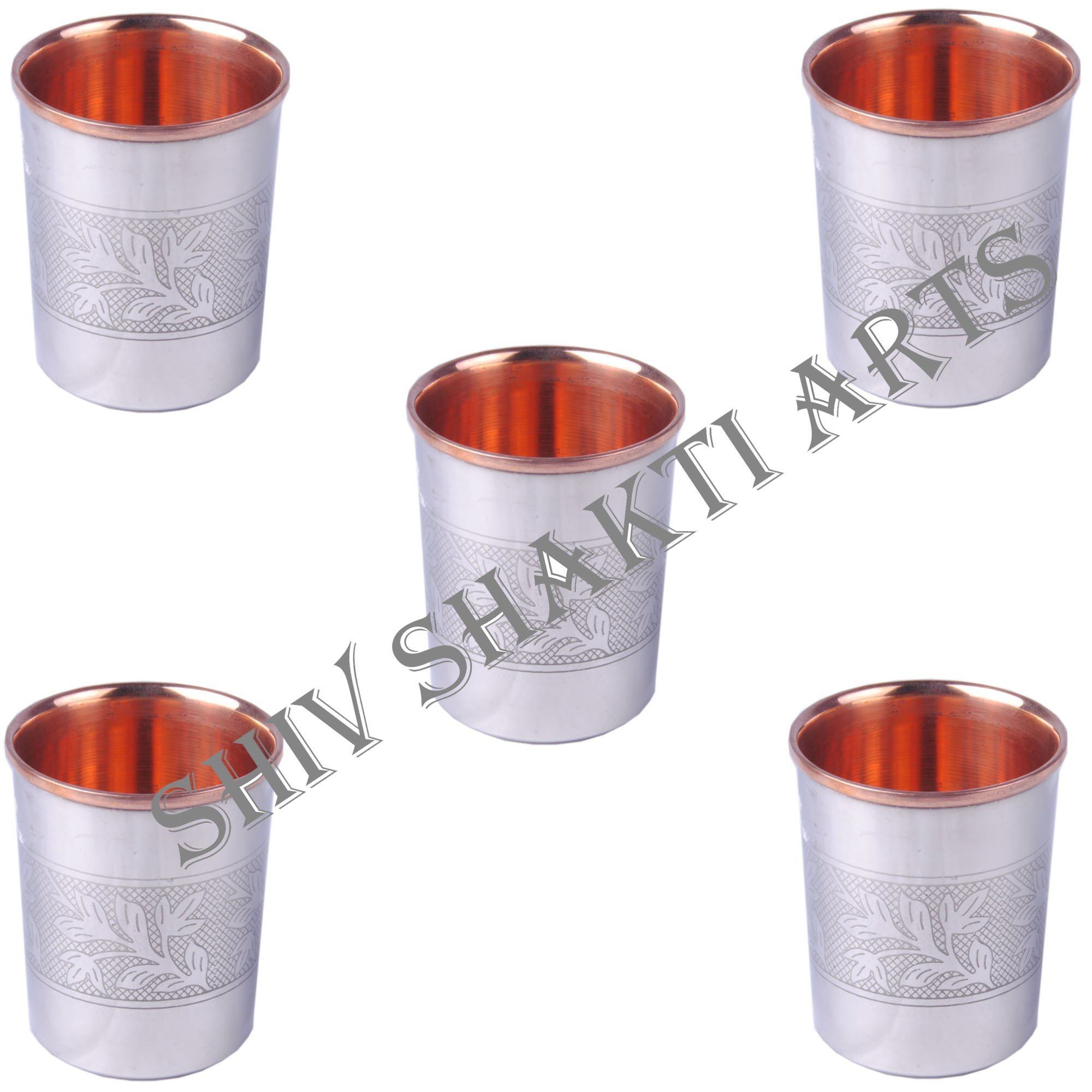 SHIV SHAKTI ARTS 3.5'' X 2.8'' Set Of 5 Handmade Solid Copper Stainless Stainless Steel Designer Glass Cup Volume 250 Ml For Use Drinking Water Restaurant Home Hotel Garden Ware Good Health Benefits