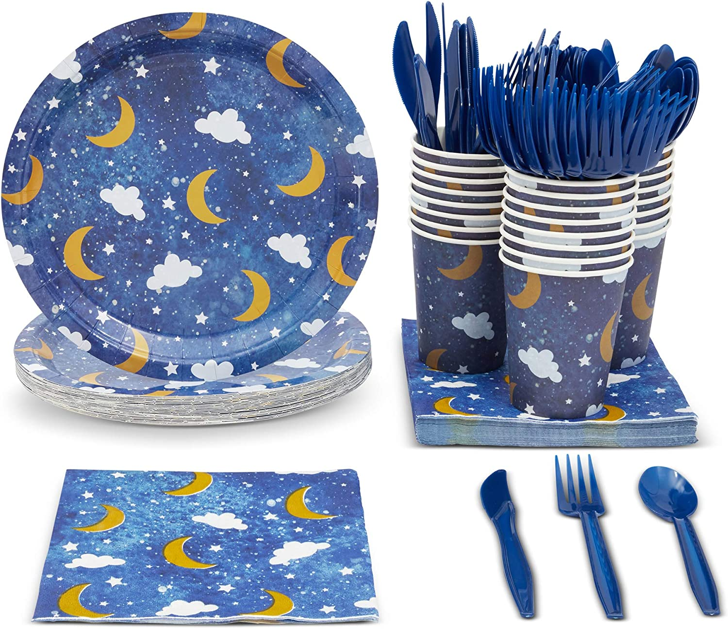 Blue Panda Twinkle Little Star Baby Shower Theme Party Pack (Serves 24) Paper Plates, Napkins, Cups & Cutlery