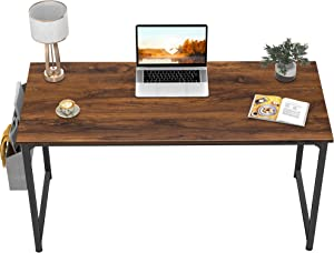 """CubiCubi Computer Desk 47"""" Study Writing Table for Home Office, Industrial Simple Style PC Desk, Black Metal Frame, Dark Rustic"""
