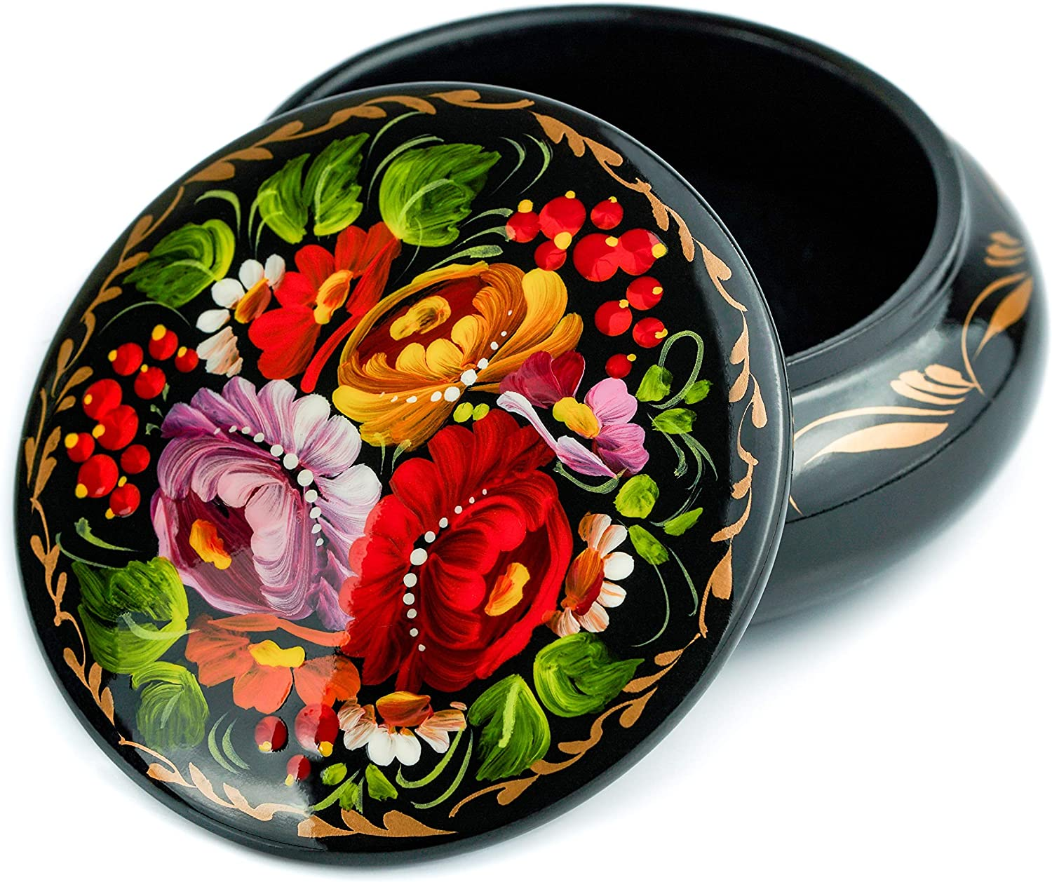 Small Lacquer Jewelry Box for Earrings, Necklace, Rings, Hand Painted Ethnic Floral Pattern Wooden Case