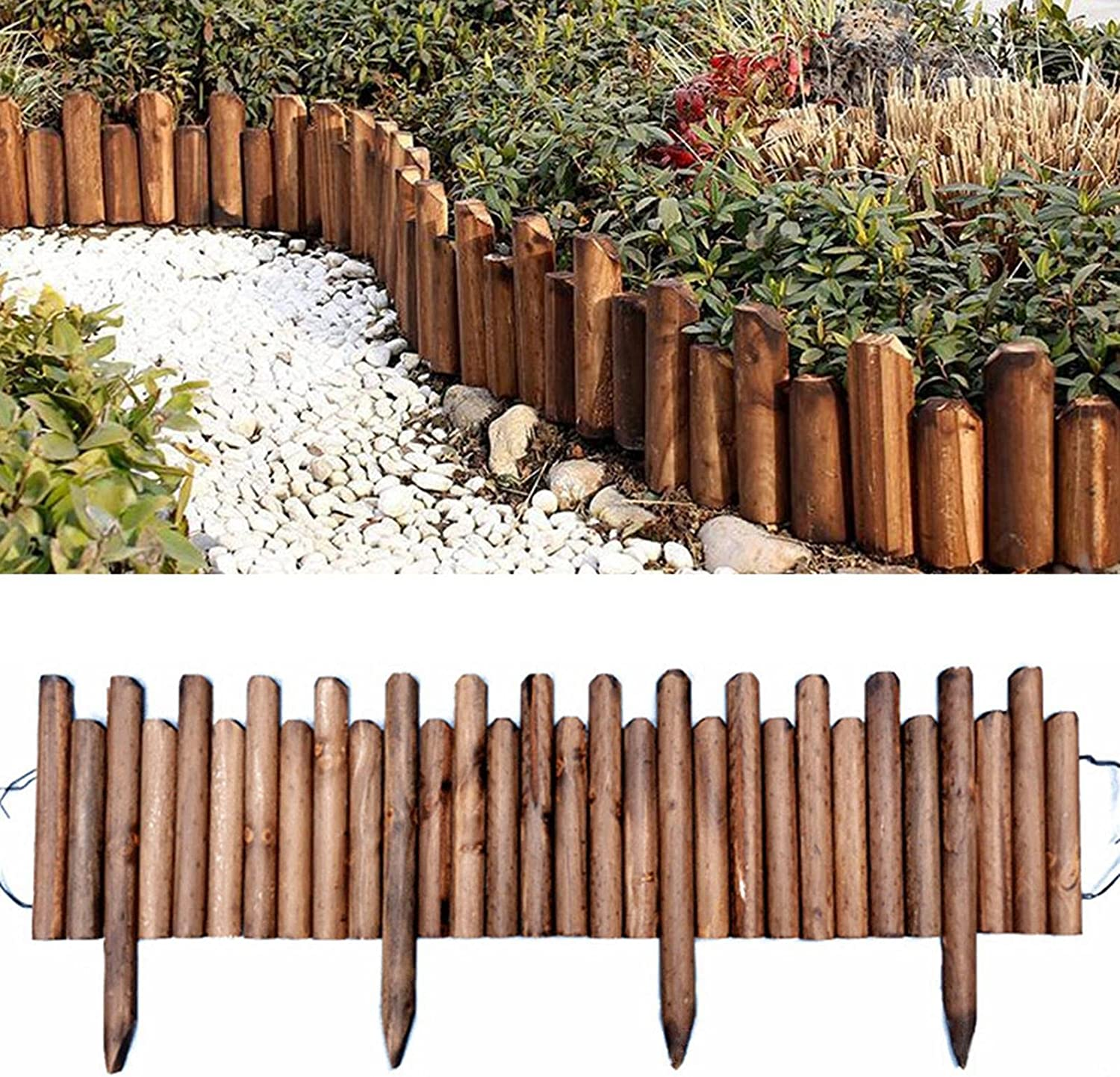Ming Chen Wood Picket Garden Fence, Lawn Spiked Log Roll Border Easy Plug-in Fence Palisade Corrosion Resistant Wooden Edging for Flower Beds Lawns Paths,Edging Fencing for Outdoors Palisade