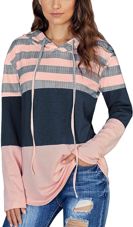 HOPATISEN Women's Pullover Hoodie Color Block Loose Striped Long Sleeve Tops