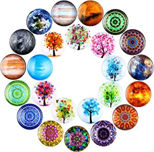 Outus 24 Pieces Glass Refrigerator Magnets Fridge Magnets Tree Mandala Flowers Planet Design Refrigerator Magnets for Classroom Whiteboard Locker Fridge Supplies