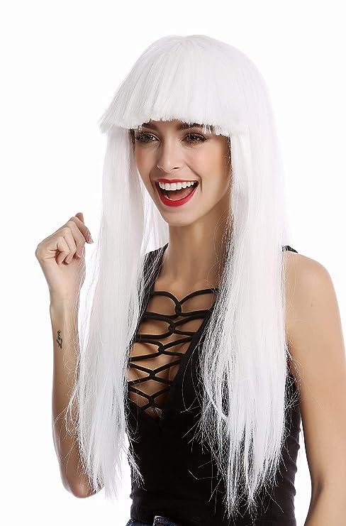 WIG ME UP ® -1373-60 Parrucca Donna Carnevale Halloween Lunga Liscia  Frangetta Bianco 920288235d94