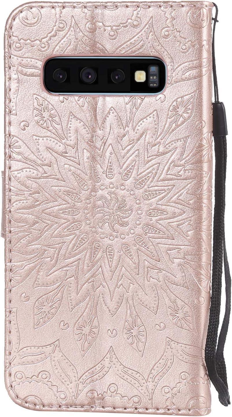 Hancda Coque pour Samsung Galaxy S10 Coque Etui Portefeuille Case /Él/égant Design Flip Cover Etui Porte Carte Magn/étique Support Fonction Anti Choc Protection pour Samsung Galaxy S10,Coque Bleu