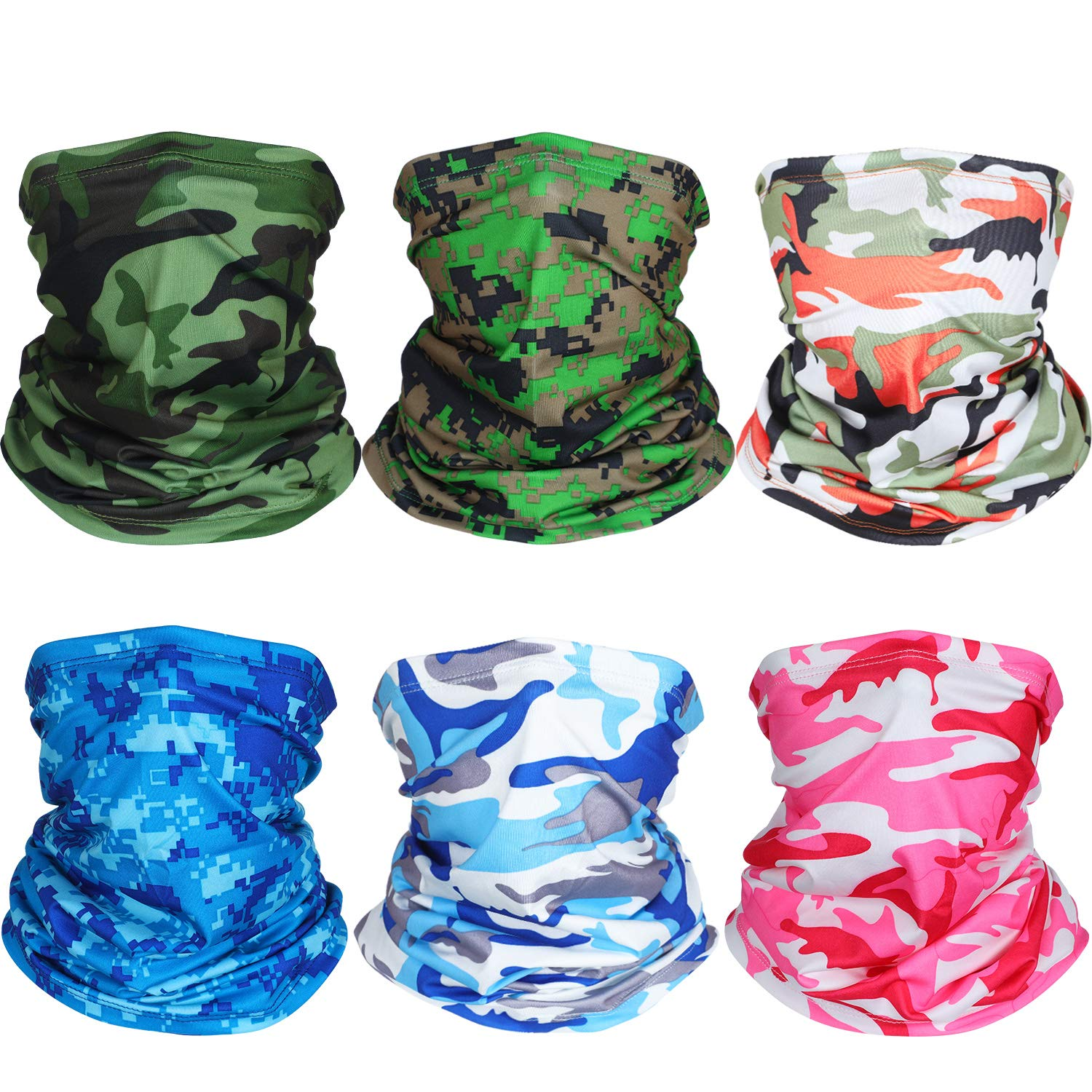 6 Pieces Summer UV Protection Face Mask Neck Gaiter Scarf Sunscreen Breathable Bandana (Color Set 4)