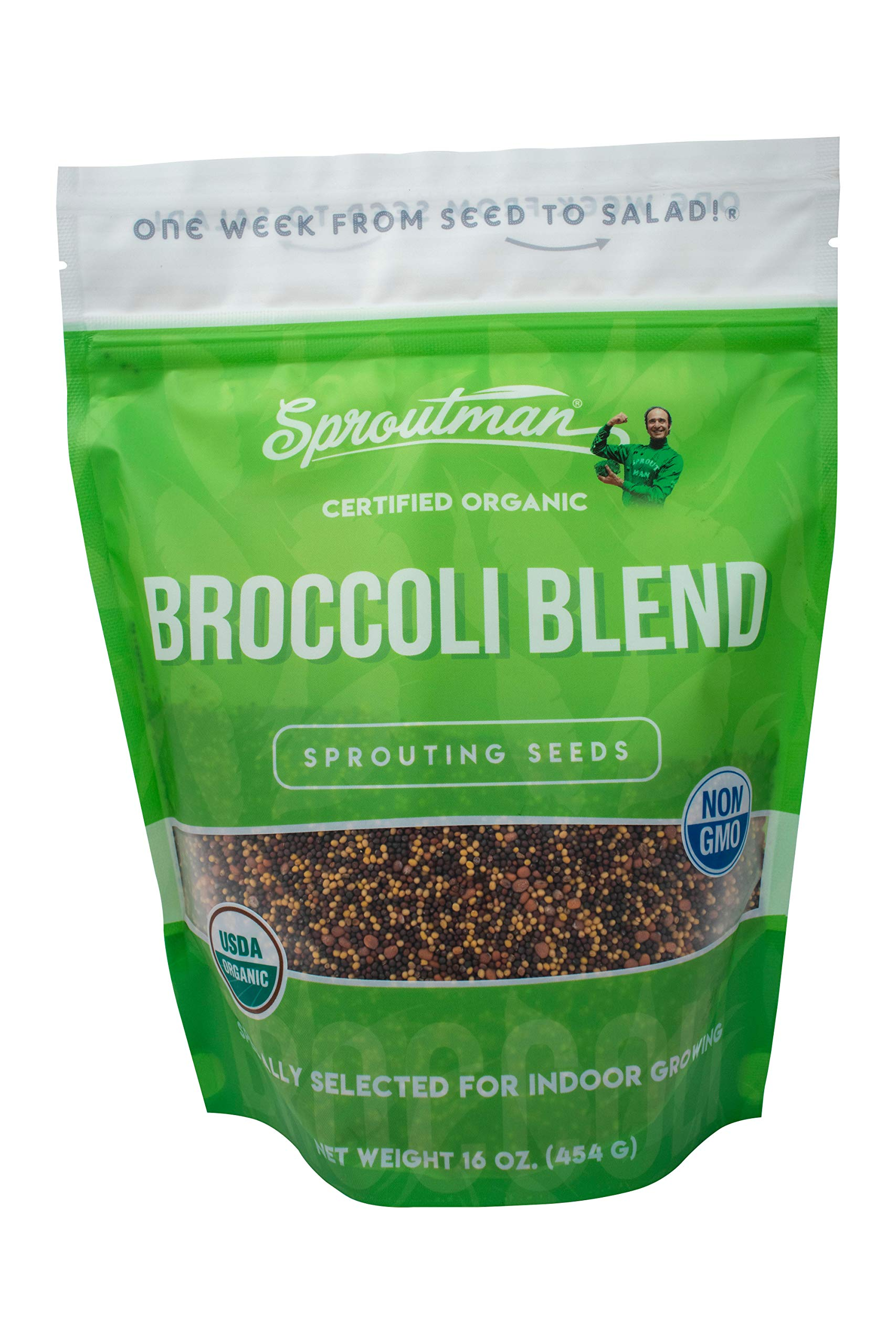 Sproutman Organic Broccoli Blend Sprouting Seed - Broccoli Blend Seeds for Sprouting, High Germination, Non-GMO, Certified Organic (16oz) by Sproutman