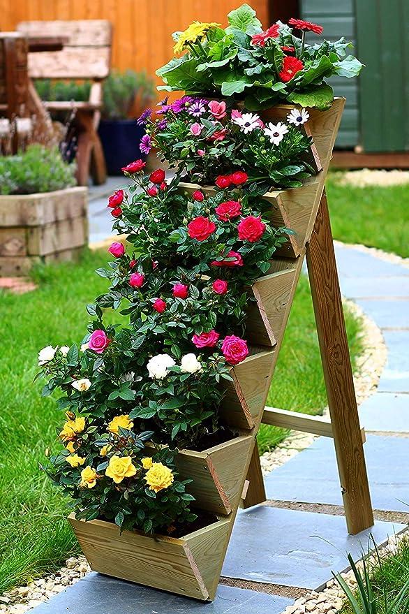 Beanwood Macetero de jardín de hierbas, fresas y flores de madera ...