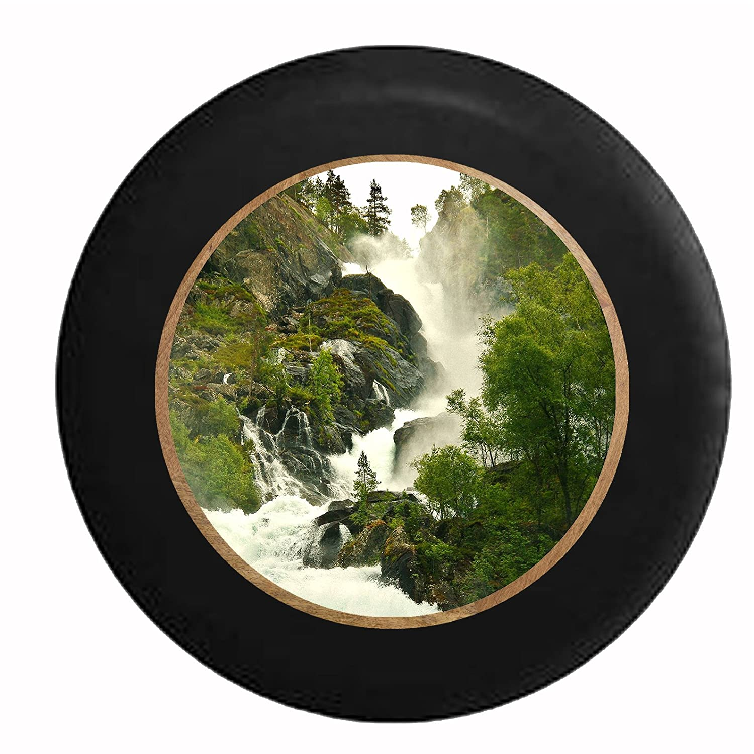Full Color White Water Waterfall Crashing Thru Rocky Cliffside Jeep RV Camper Spare Tire Cover Black 35 in Pike Outdoors