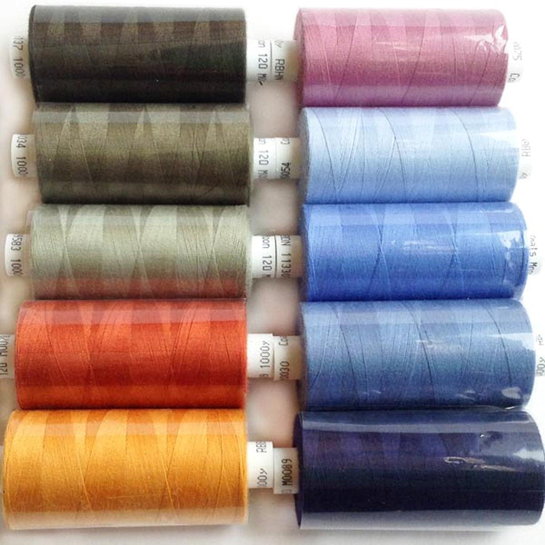 10X Coats Moon 120 Polyester Sewing /& Overlocking Thread