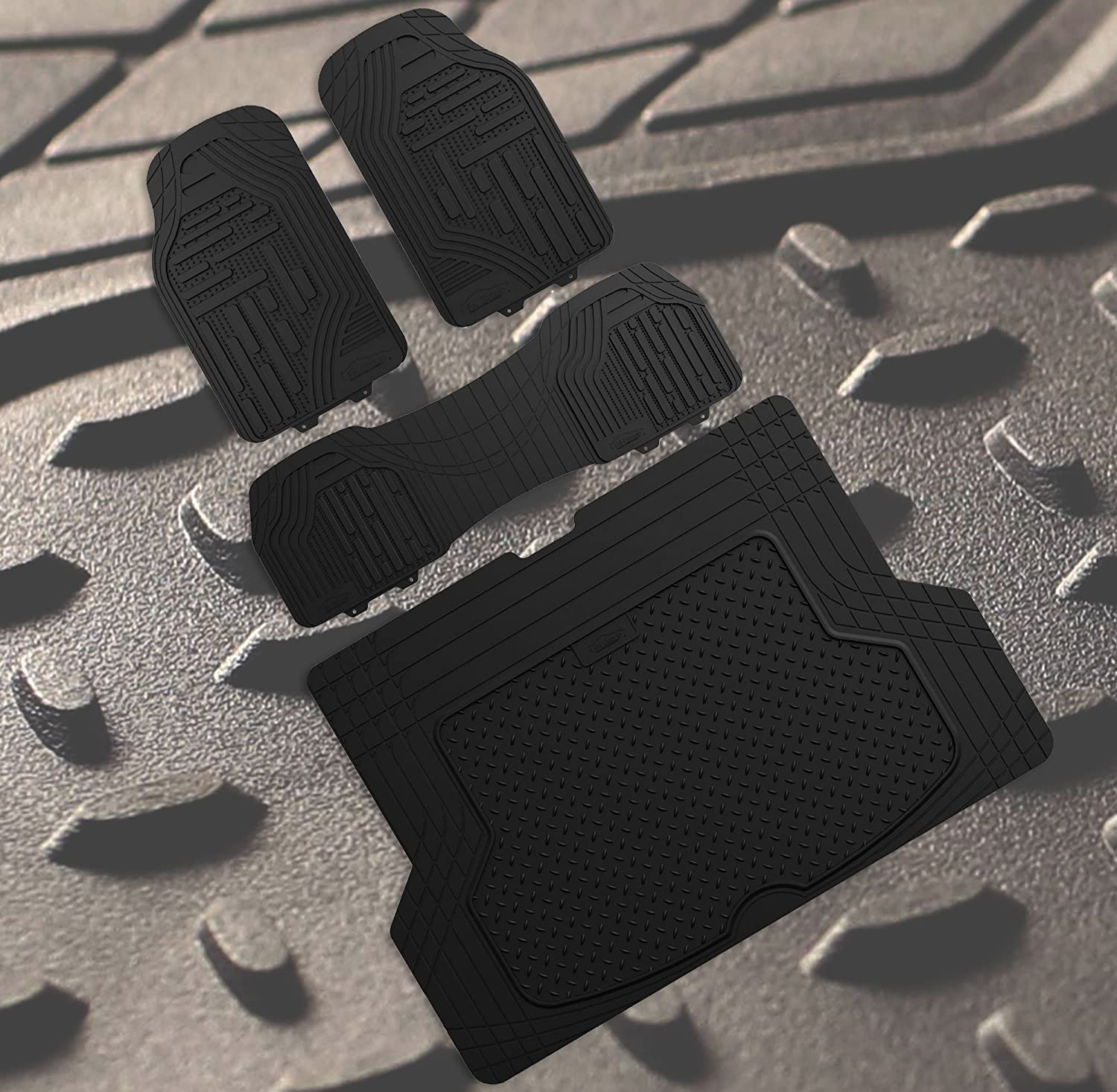 FH Group F11322 Supreme Rubber Trimmable Heavy Duty Floor Mats with F16406 Premium Rubber Trimmable for Custom Fit Trunk Liner/Cargo Mat Solid Black