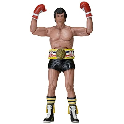 "NECA 40th Anniversary One Sheet Version Series 1 Rocky Action Figure with Belt (7"" Scale), Black: Toys & Games"