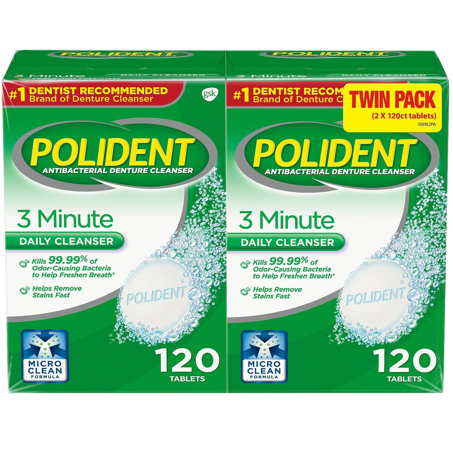 Polident 3-minute Anti-bacterial Denture Cleanser Tablets, Triple Mint Fresh, 120-count Boxes (Pack of 2). The Most Popular Denture Care Cleaner for Full Partial Denture False Teeth.