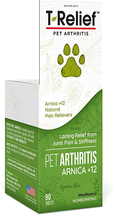 MediNatura T-Relief Pet Arthritis Pain Relief Arnica +12 Plant-Based Medicines Help Reduce Hip & Joint Pain, Soreness & Stiffness Naturally - Vet Approved, Fast-Acting, Long-Lasting - 90 Tablets