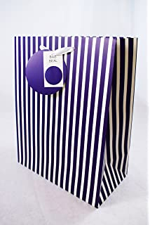Large Gift Bag For Men Him Navy Blue Striped Birthday Fathers Day