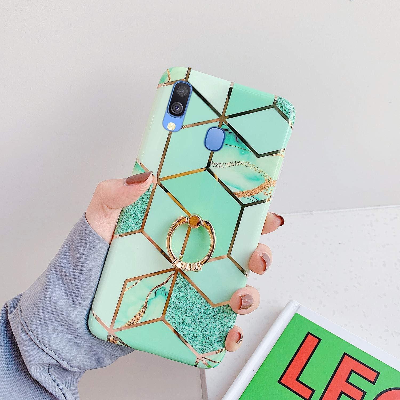 Herbests Kompatibel mit Samsung Galaxy A40 H/ülle Bunt Marmor Muster TPU Silikon Handyh/ülle Gl/änzend Bling Glitzer Diamant Strass Ring Halter St/änder Ultra D/ünn Crystal Schutzh/ülle,Rosa Wei/ß
