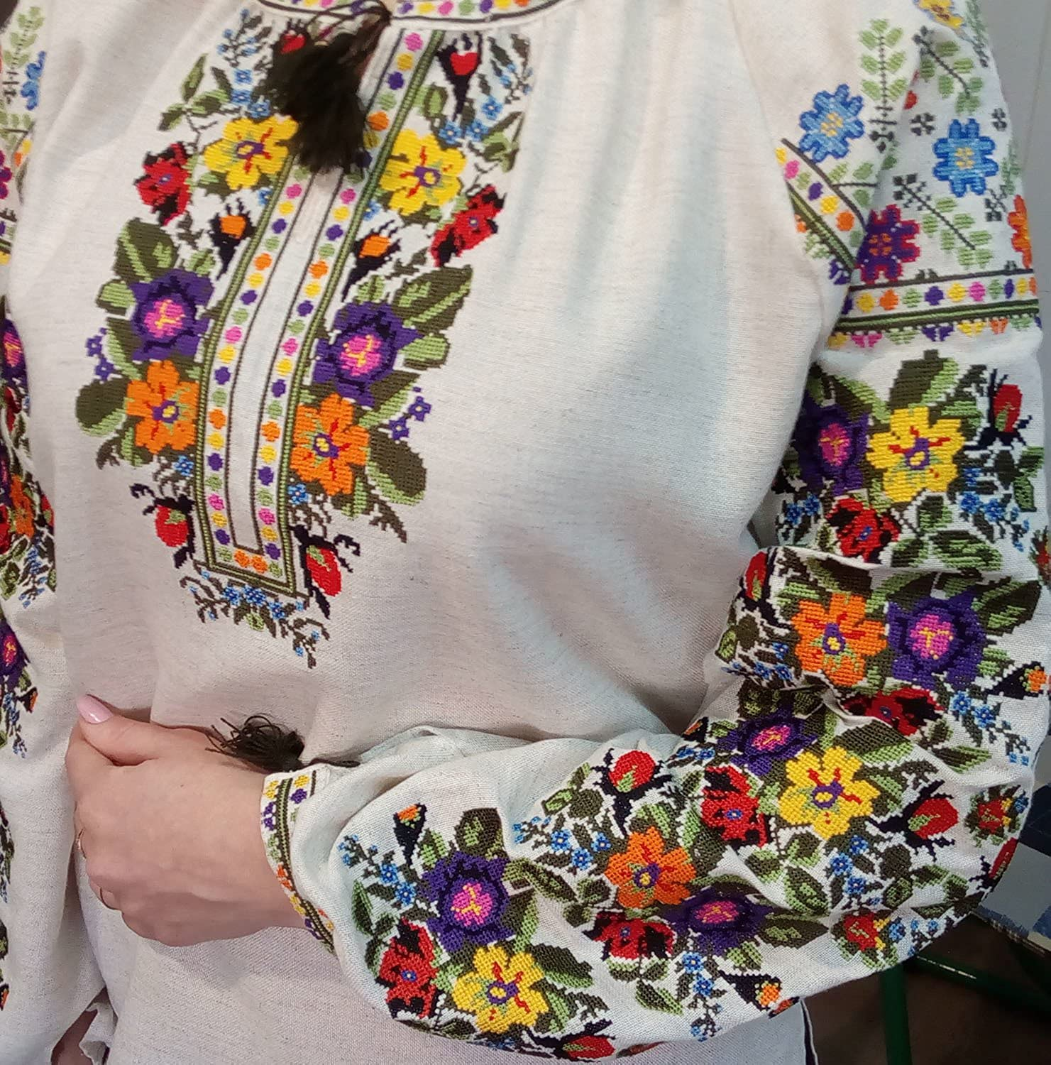 34 sleeve Ukrainian Embroidered  nice  blouse of beautiful color and  natural cotton