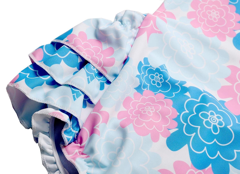 Dalary Floral Ruffles Rompers Dress One Piece Bathing Suit Beachwear with Headband