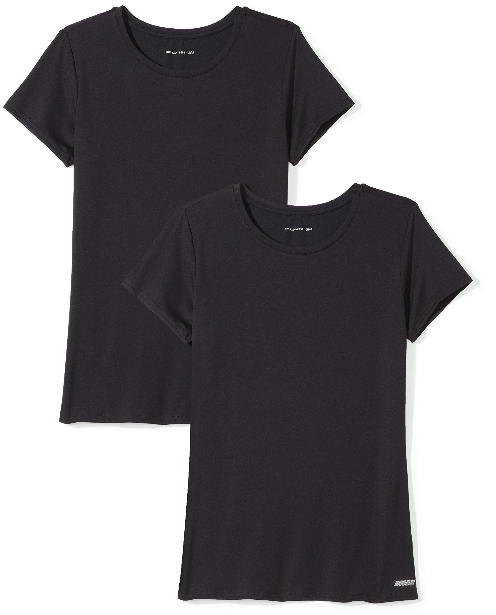 Amazon Essentials Women's 2-Pack Tech Stretch Short-Sleeve Crewneck T-Shirt, -black/black, Medium
