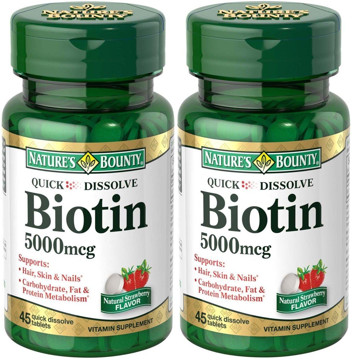 Natures Bounty Biotin Quick Dissolve Tablets, 5000 mcg, 90 Tablets (2 X 45 Count Bottles)