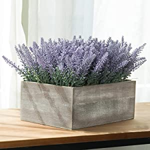 MyGift Faux Potted Lavender Flower Plant in Gray Wood Planter