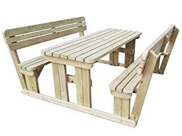 Outstanding Gms Timber Ltd Alders Rounded Wooden Garden Picnic Table And Benches With Backrest Heavy Duty Handmade Outdoor Furniture In Uk Pressure Treated Pabps2019 Chair Design Images Pabps2019Com