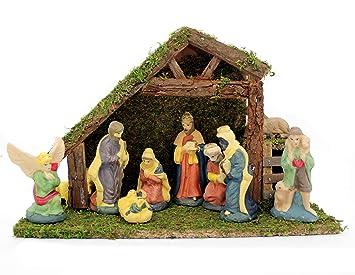 Beleuchtete Weihnachtskrippe aus Holz mit Moos und Krippe Figuren